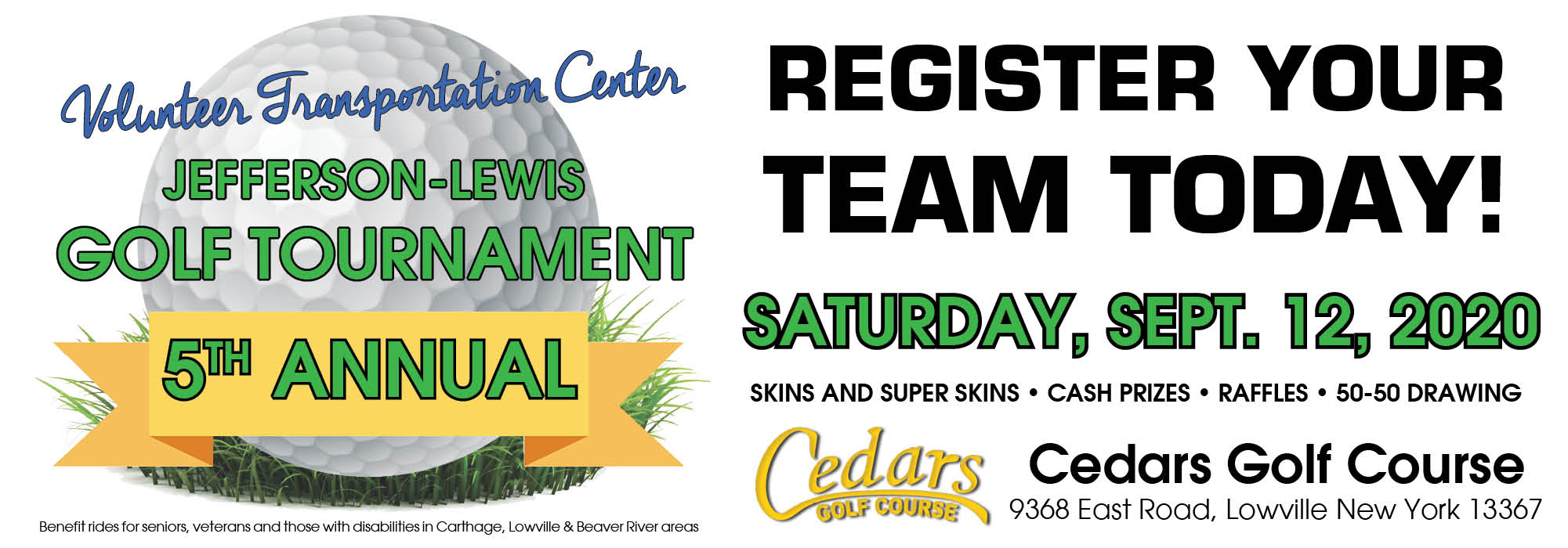 Cedars to Host VTC's 5th Annual  Jefferson-Lewis Golf Tournament